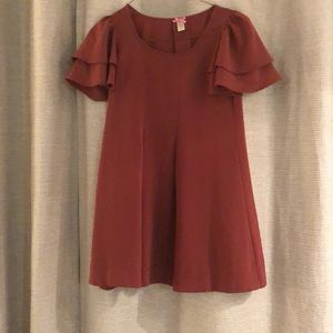 Burnt orange flowy tunic top with flutter sleeves